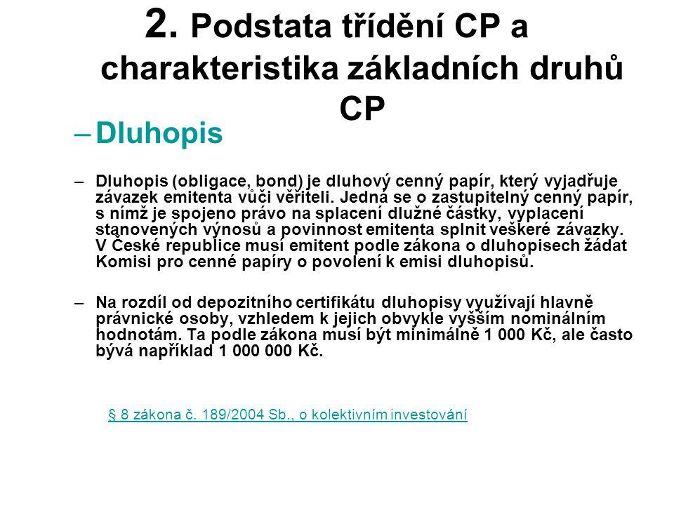 2. Podstata třídění CP a charakteristika základních druhů CP –Dluhopis –Dluhopis (obligace, bond) je dluhový cenný papír, který vyjadřuje závazek emit