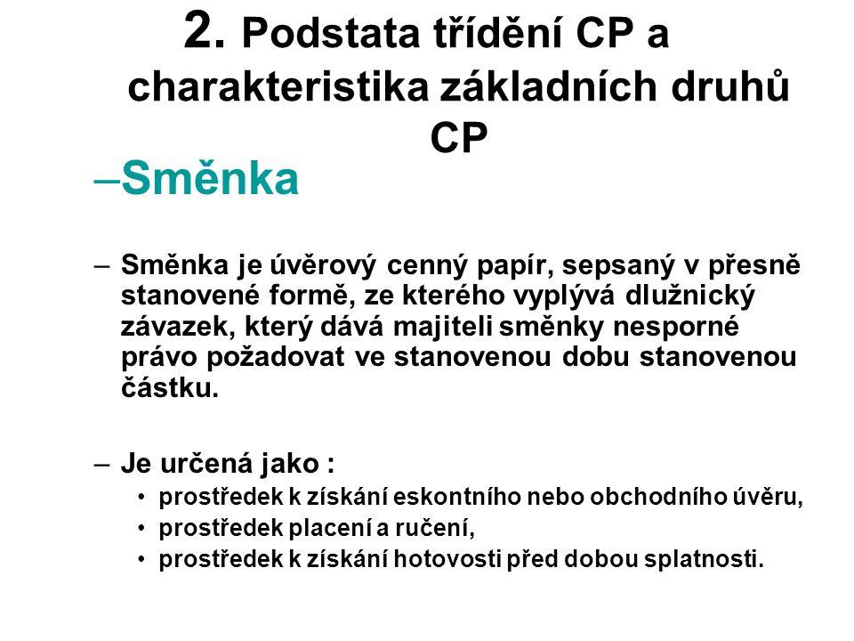 2. Podstata třídění CP a charakteristika základních druhů CP –Směnka –Směnka je úvěrový cenný papír, sepsaný v přesně stanovené formě, ze kterého vypl