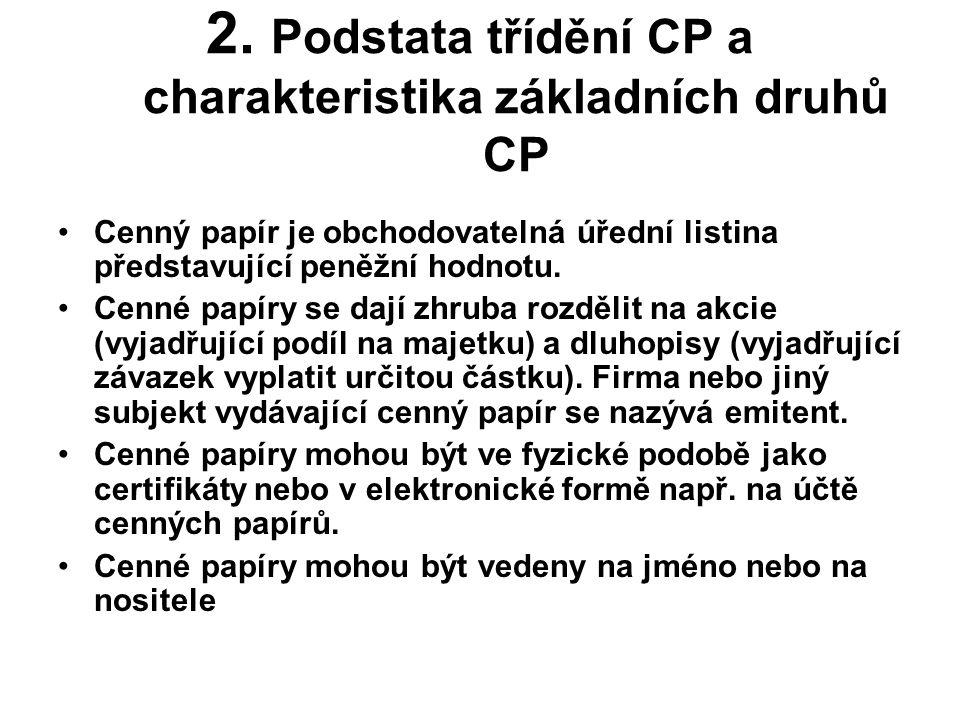 2. Podstata třídění CP a charakteristika základních druhů CP •Cenný papír je obchodovatelná úřední listina představující peněžní hodnotu. •Cenné papír