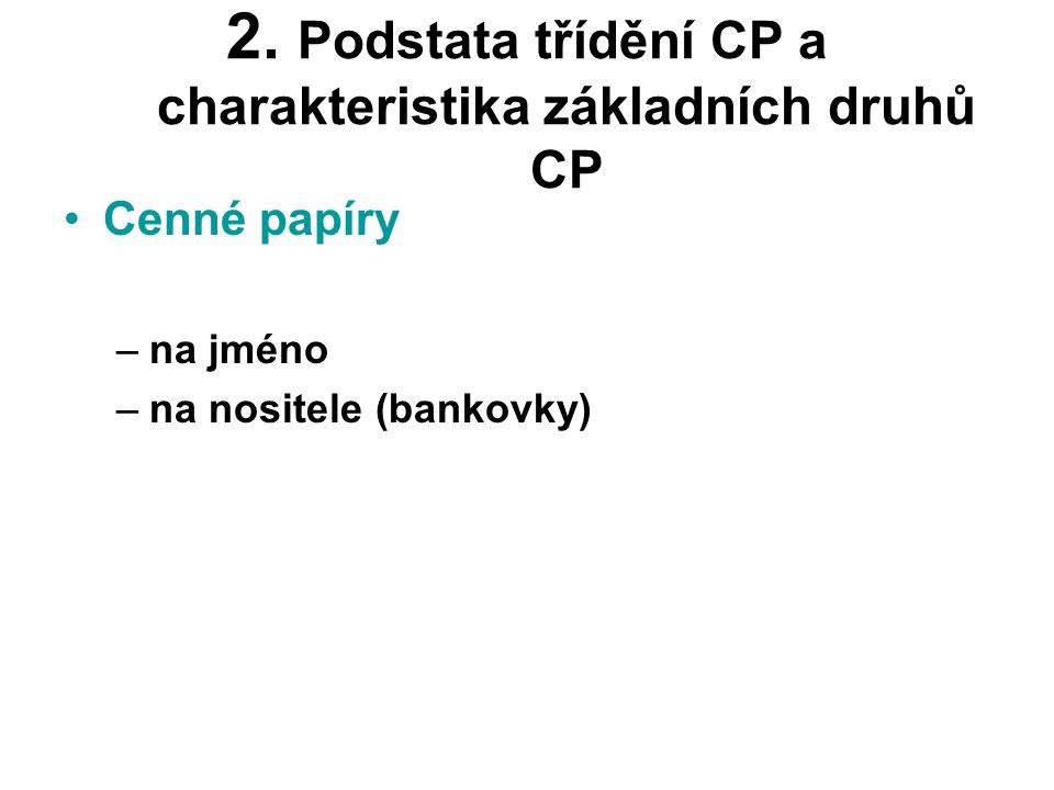 2. Podstata třídění CP a charakteristika základních druhů CP •Cenné papíry –na jméno –na nositele (bankovky)