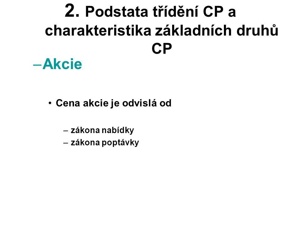 2. Podstata třídění CP a charakteristika základních druhů CP –Akcie •Cena akcie je odvislá od –zákona nabídky –zákona poptávky