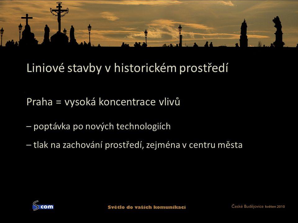 Liniové stavby v historickém prostředí Praha = vysoká koncentrace vlivů – poptávka po nových technologiích – tlak na zachování prostředí, zejména v centru města