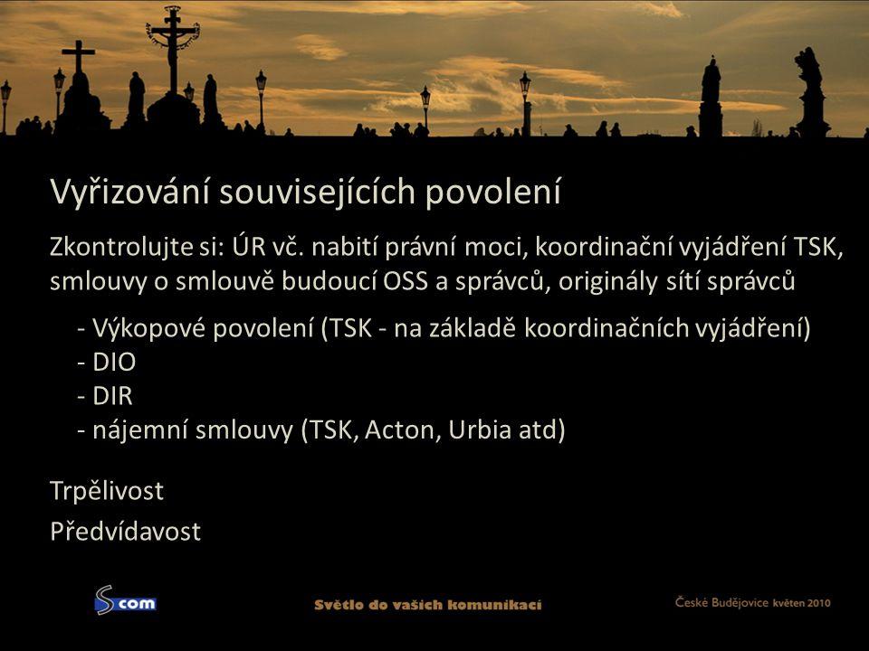 Vyřizování souvisejících povolení - DIO Předvídavost - Výkopové povolení (TSK - na základě koordinačních vyjádření) Trpělivost - DIR - nájemní smlouvy (TSK, Acton, Urbia atd) Zkontrolujte si: ÚR vč.