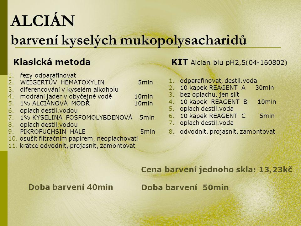ALCIÁN barvení kyselých mukopolysacharidů 1. řezy odparafinovat 2. WEIGERTŮV HEMATOXYLIN 5min 3. diferencování v kyselém alkoholu 4. modrání jader v o