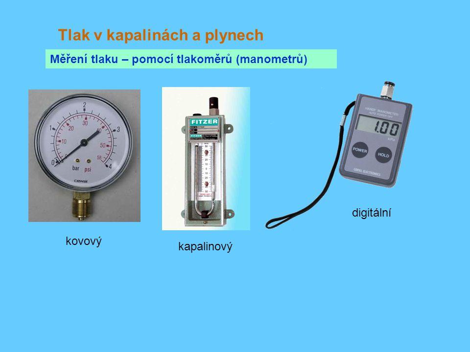 Tlak v kapalinách a plynech Měření tlaku – pomocí tlakoměrů (manometrů) kovový kapalinový digitální
