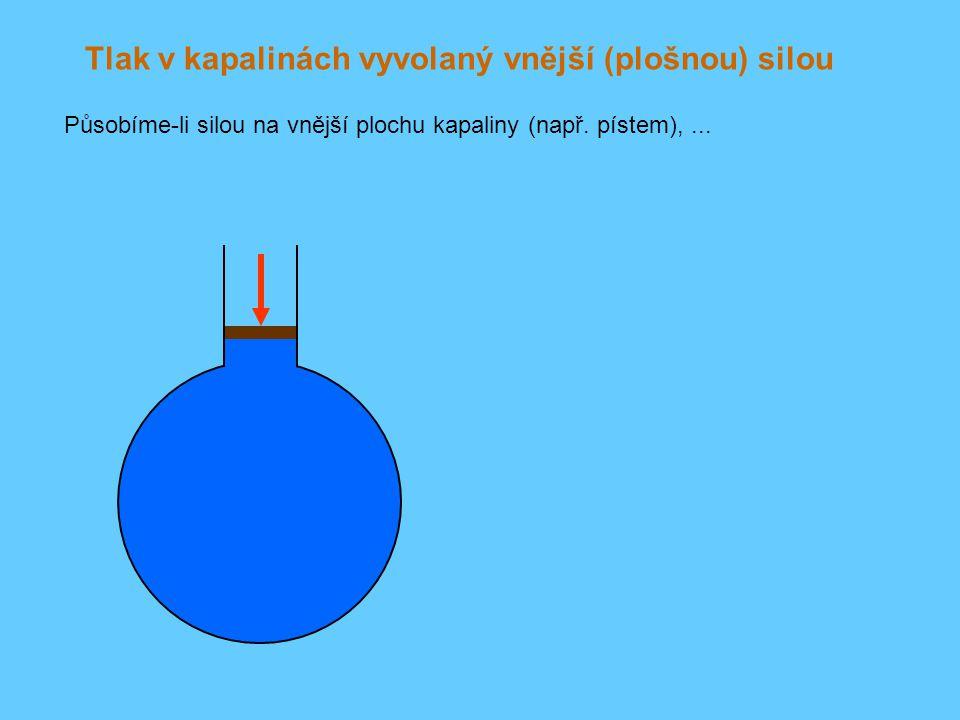 Tlak v kapalinách vyvolaný vnější (plošnou) silou Působíme-li silou na vnější plochu kapaliny (např. pístem),...