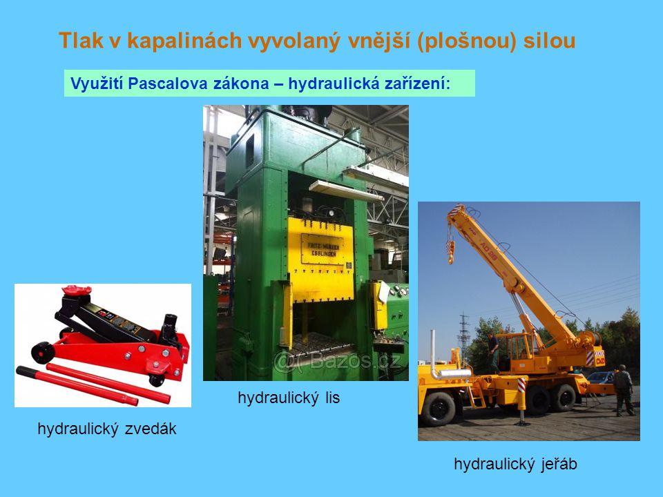 Tlak v kapalinách vyvolaný vnější (plošnou) silou Využití Pascalova zákona – hydraulická zařízení: hydraulický zvedák hydraulický lis hydraulický jeřá