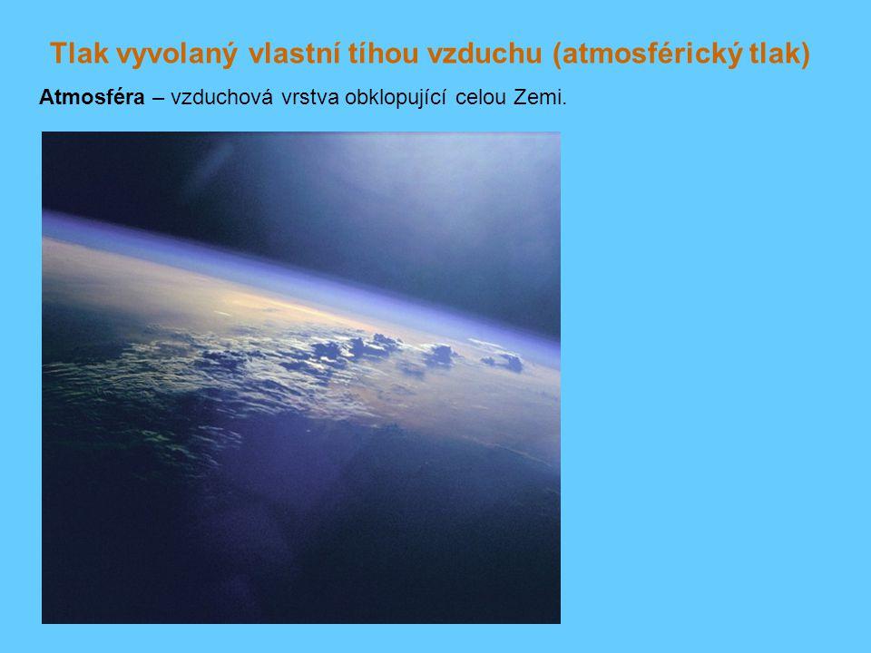 Tlak vyvolaný vlastní tíhou vzduchu (atmosférický tlak) Atmosféra – vzduchová vrstva obklopující celou Zemi.