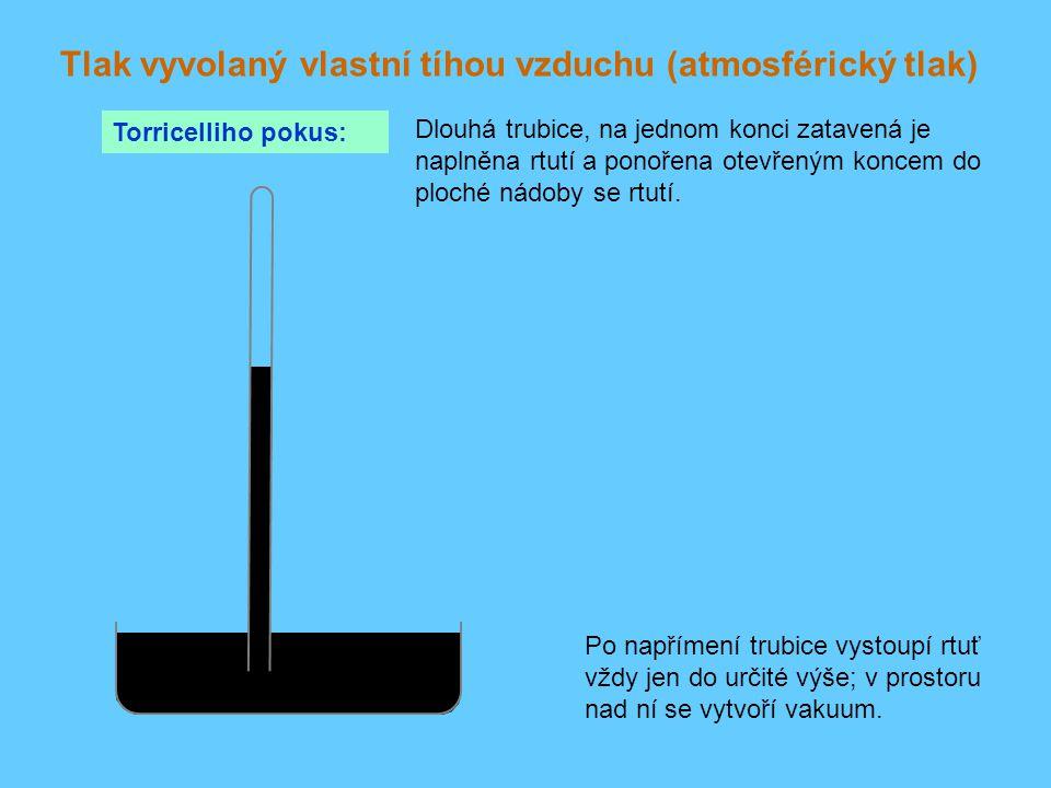 Tlak vyvolaný vlastní tíhou vzduchu (atmosférický tlak) Torricelliho pokus: Dlouhá trubice, na jednom konci zatavená je naplněna rtutí a ponořena otev