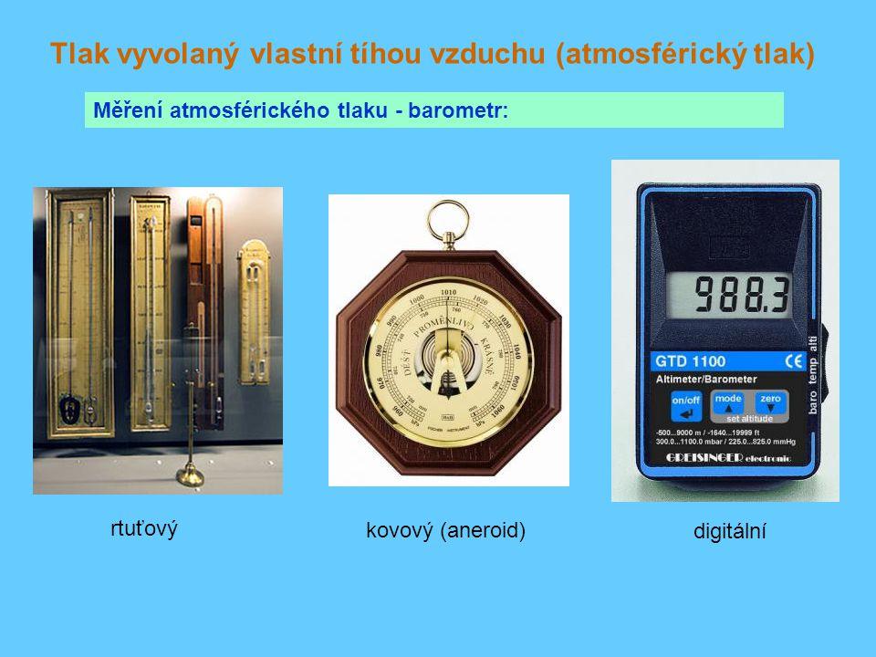 Tlak vyvolaný vlastní tíhou vzduchu (atmosférický tlak) Měření atmosférického tlaku - barometr: rtuťový kovový (aneroid) digitální
