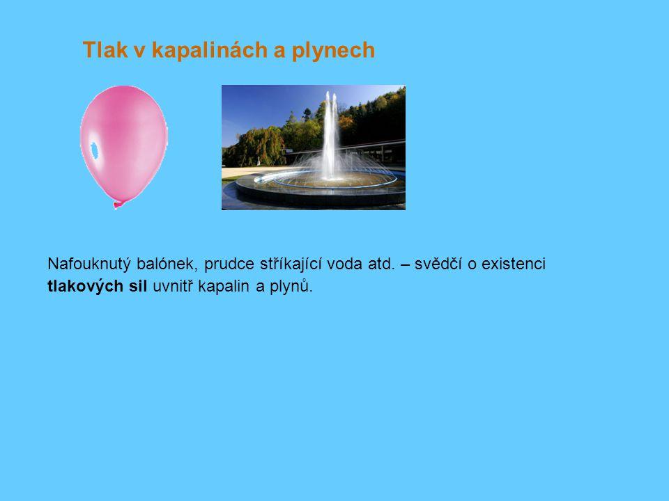 Tlak v kapalinách a plynech Nafouknutý balónek, prudce stříkající voda atd. – svědčí o existenci tlakových sil uvnitř kapalin a plynů.