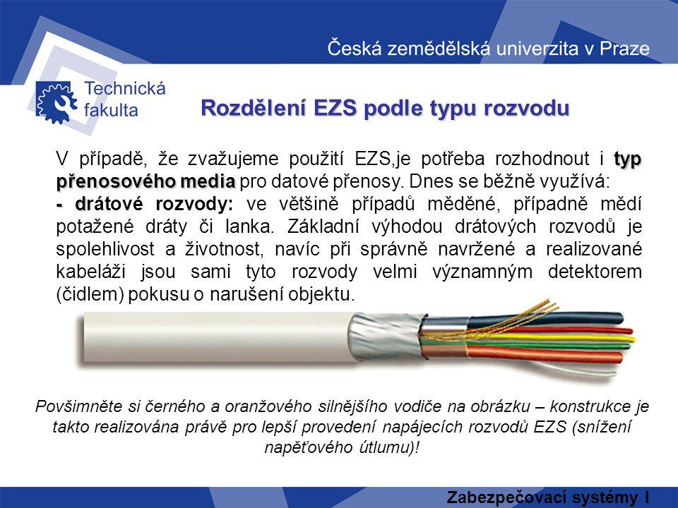 Zabezpečovací systémy I Rozdělení EZS podle typu rozvodu typ přenosového media V případě, že zvažujeme použití EZS,je potřeba rozhodnout i typ přenoso