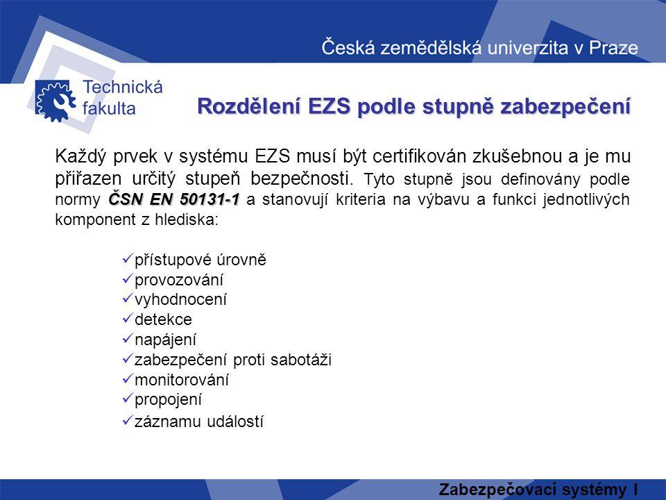 Zabezpečovací systémy I Rozdělení EZS podle stupně zabezpečení ČSN EN 50131-1 Každý prvek v systému EZS musí být certifikován zkušebnou a je mu přiřaz