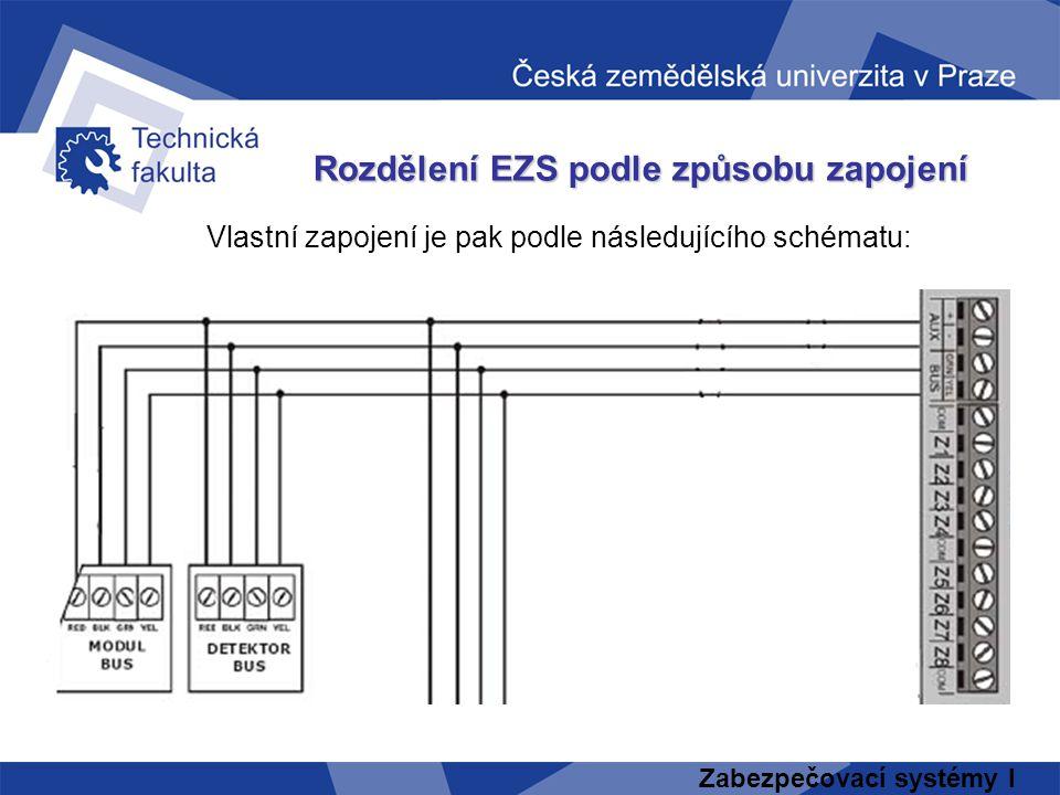 Zabezpečovací systémy I Vlastní zapojení je pak podle následujícího schématu: Rozdělení EZS podle způsobu zapojení