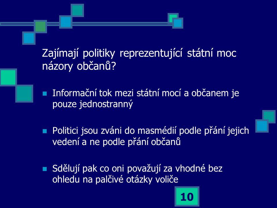 10 Zajímají politiky reprezentující státní moc názory občanů.
