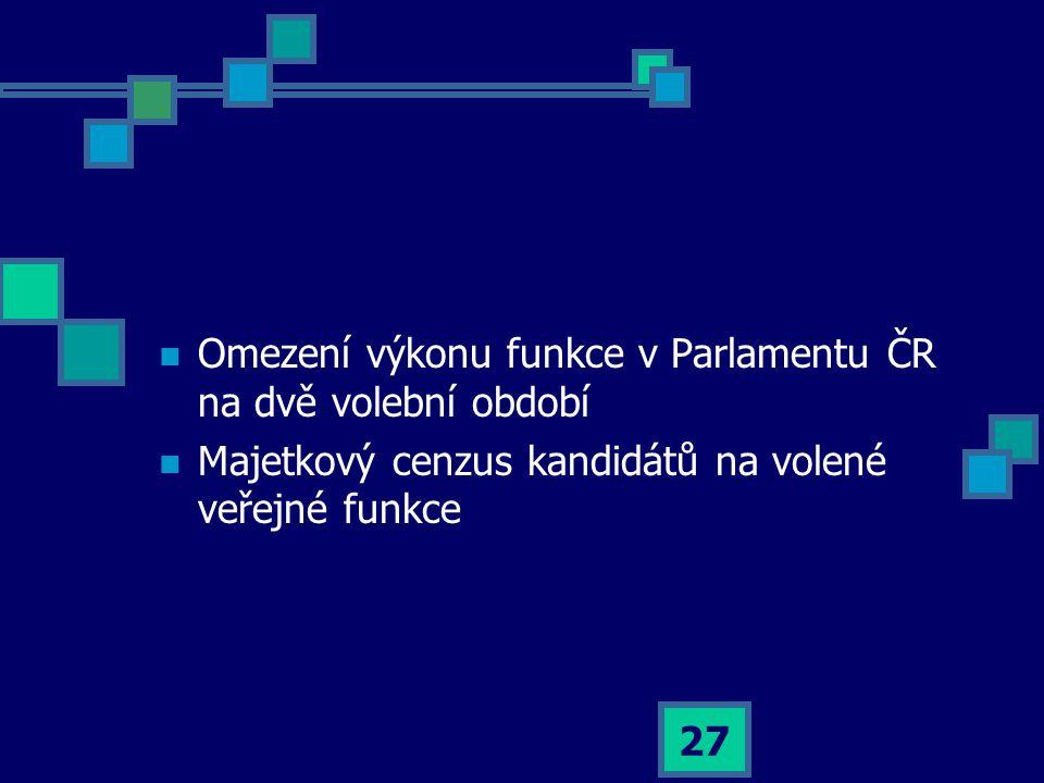 27  Omezení výkonu funkce v Parlamentu ČR na dvě volební období  Majetkový cenzus kandidátů na volené veřejné funkce