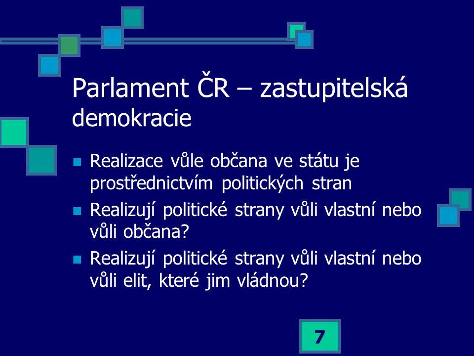 7 Parlament ČR – zastupitelská demokracie  Realizace vůle občana ve státu je prostřednictvím politických stran  Realizují politické strany vůli vlastní nebo vůli občana.