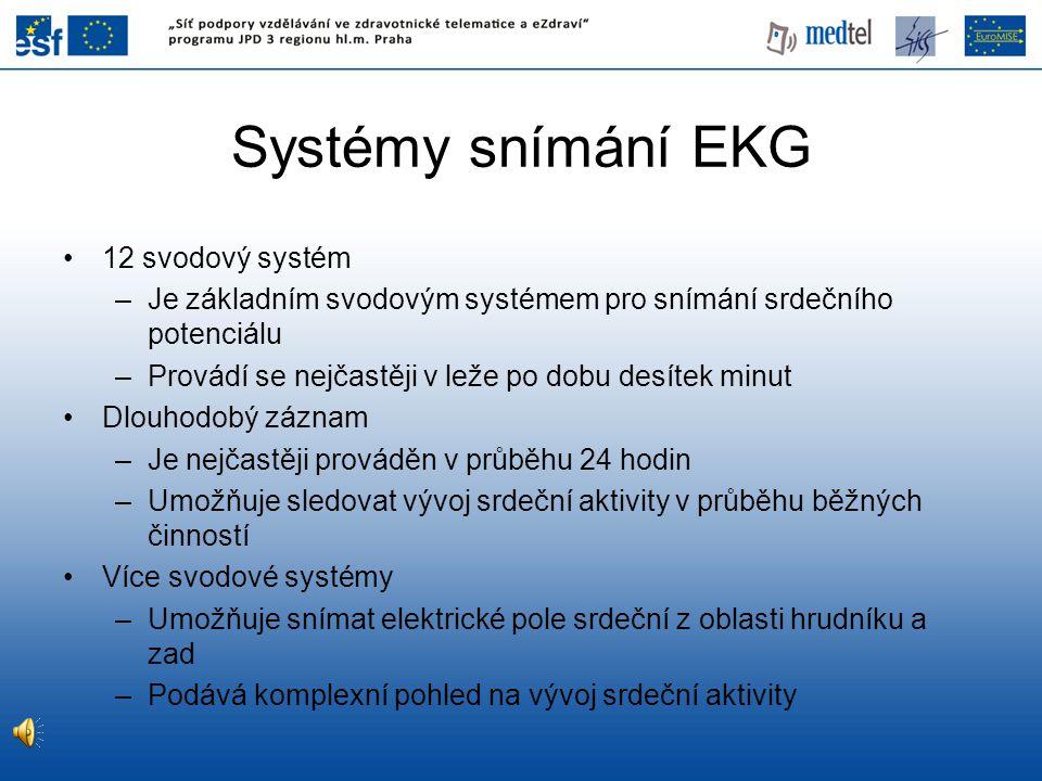 Segmentace signálu na příkladu EKG •Detekce QRS komplexu – vlna R, nejrychlejší náběžná hrana •Analýza rytmu •Detekce jednodušších vln –Q, S •Detekce složitějších vln –T, P, U •Výběr cyklu či zprůměrování •Podrobné rozměření –Detekce alternace –Sklon ST segmentu –…