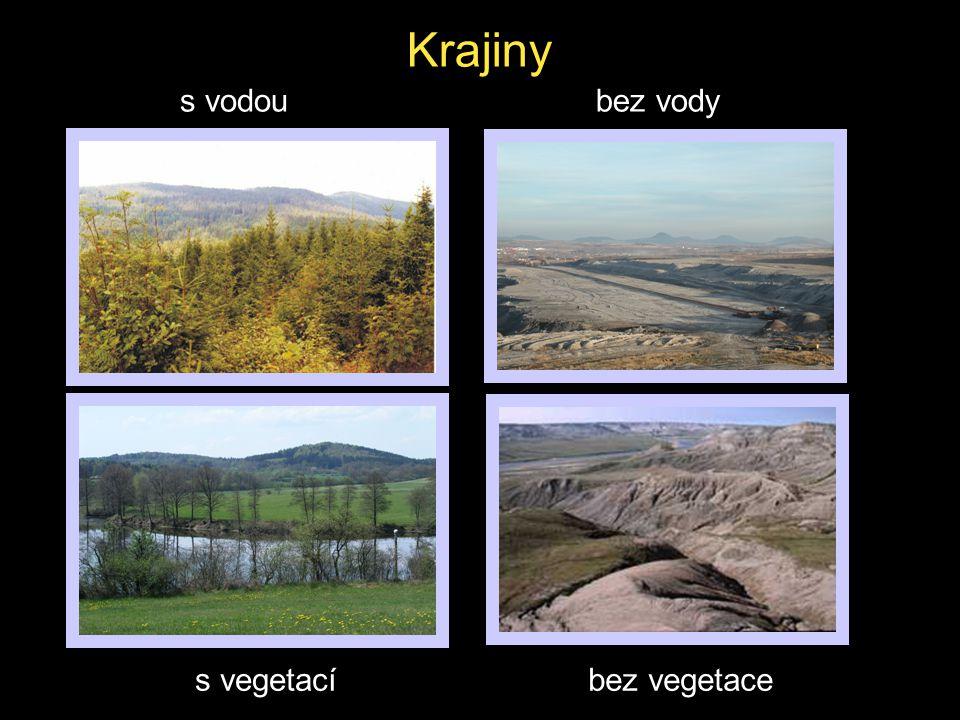 Krajiny bez vodys vodou s vegetacíbez vegetace