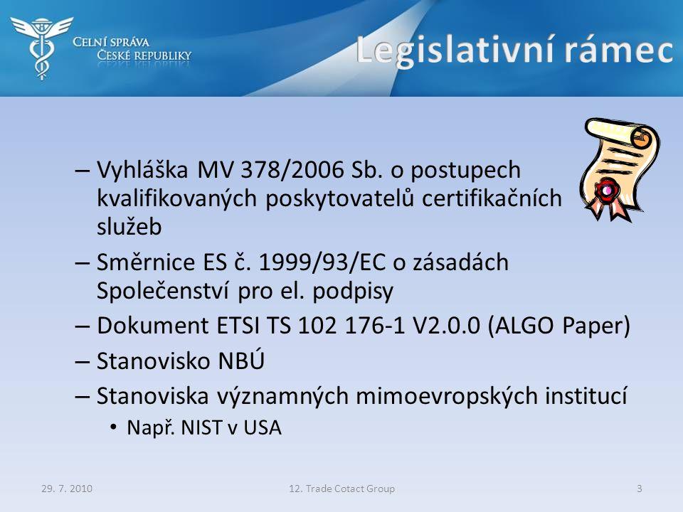 – Vyhláška MV 378/2006 Sb. o postupech kvalifikovaných poskytovatelů certifikačních služeb – Směrnice ES č. 1999/93/EC o zásadách Společenství pro el.