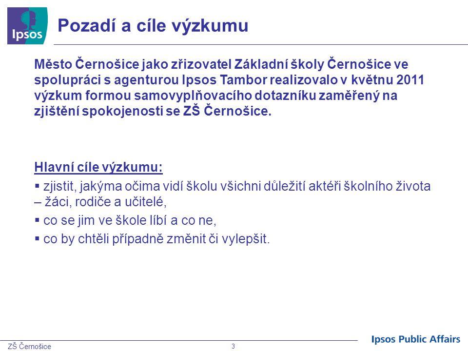 3 ZŠ Černošice Pozadí a cíle výzkumu Město Černošice jako zřizovatel Základní školy Černošice ve spolupráci s agenturou Ipsos Tambor realizovalo v kvě
