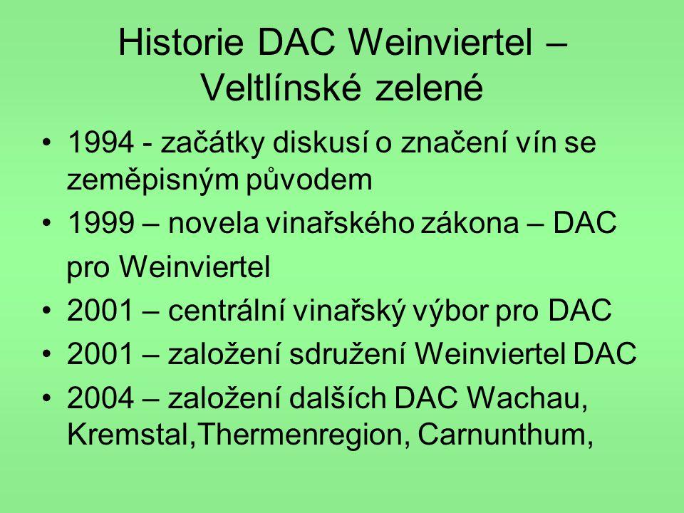 Historie DAC Weinviertel – Veltlínské zelené •1994 - začátky diskusí o značení vín se zeměpisným původem •1999 – novela vinařského zákona – DAC pro We