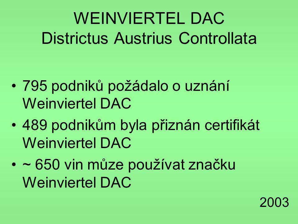 WEINVIERTEL DAC Districtus Austrius Controllata •795 podniků požádalo o uznání Weinviertel DAC •489 podnikům byla přiznán certifikát Weinviertel DAC •