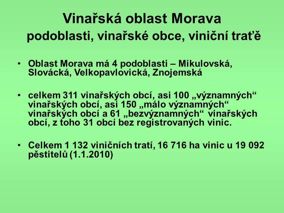 Vinařská oblast Morava podoblasti, vinařské obce, viniční traťě •Oblast Morava má 4 podoblasti – Mikulovská, Slovácká, Velkopavlovická, Znojemská •cel