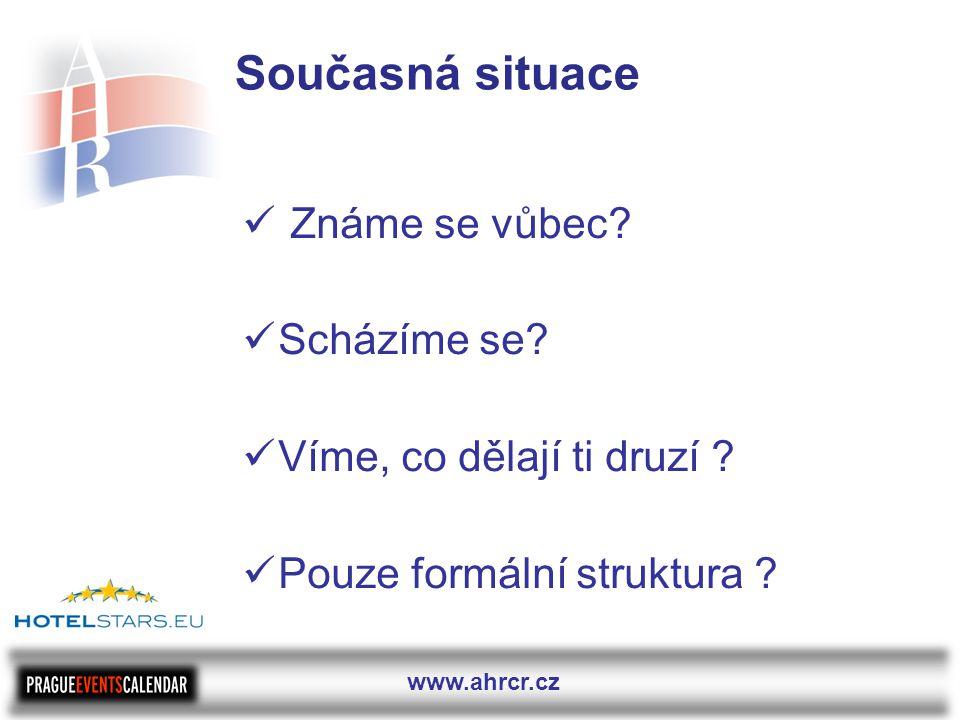 www.ahrcr.cz Současná situace  Známe se vůbec.  Scházíme se.
