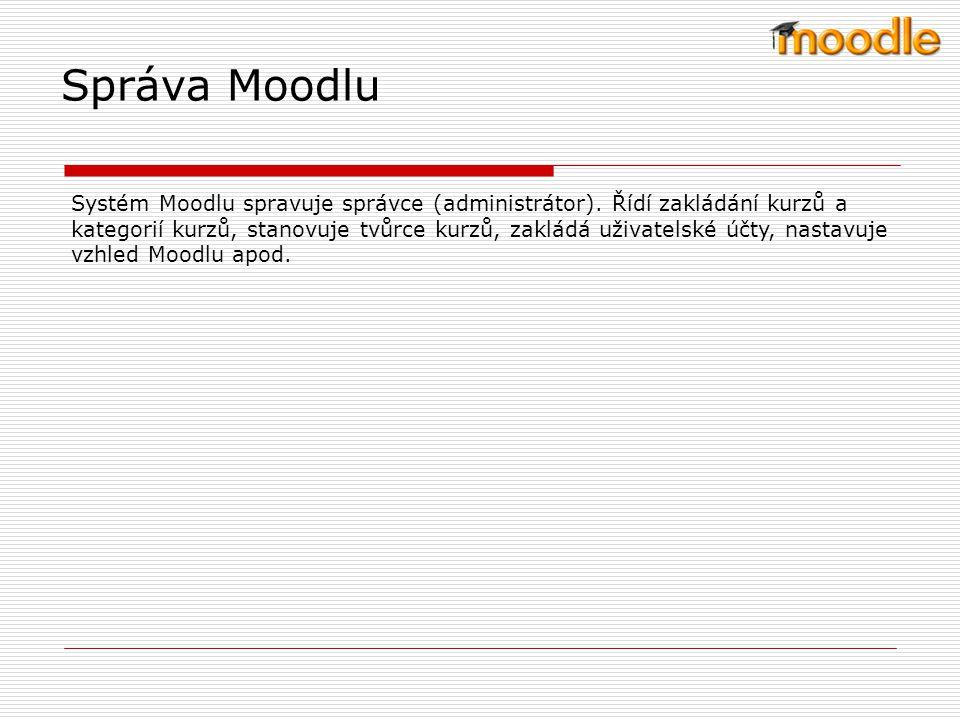 Požadavky na systém Používat systém Moodle je relativné jednoduché a intuitivní.