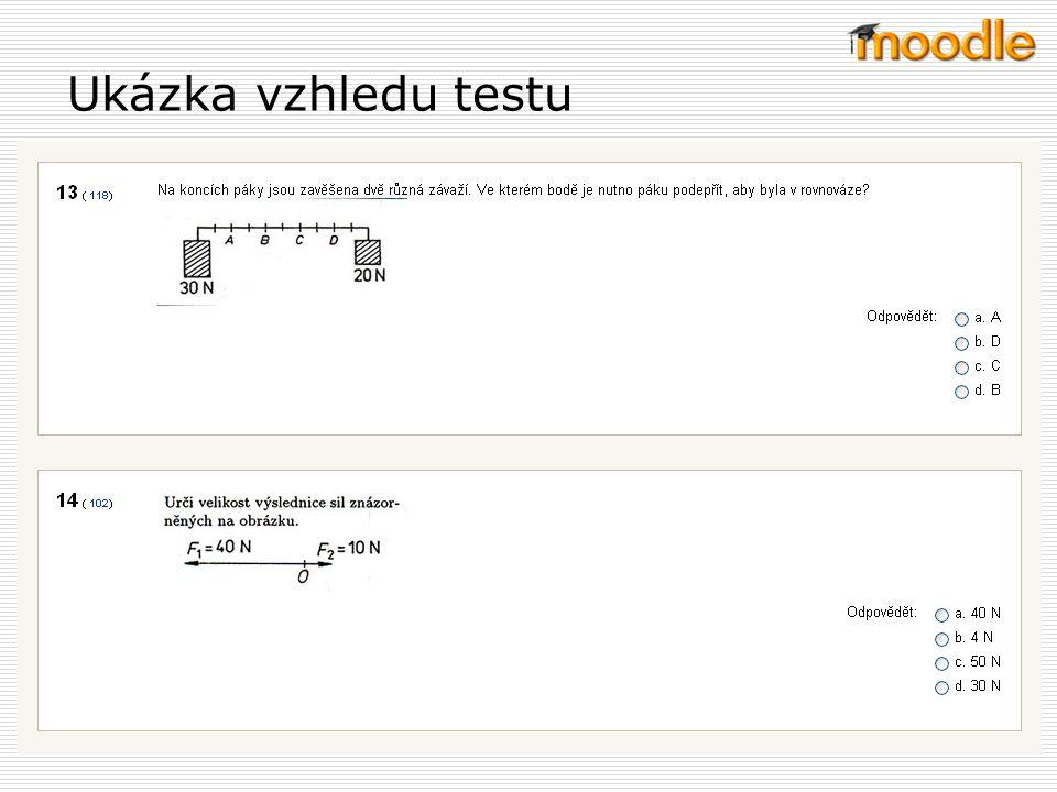 Použitý text vychází z Nápovědy k Moodlu Zpřístupnění a uzavření testu, časový limit U testu lze nastavit časové rozmezí, ve kterém budou moci student