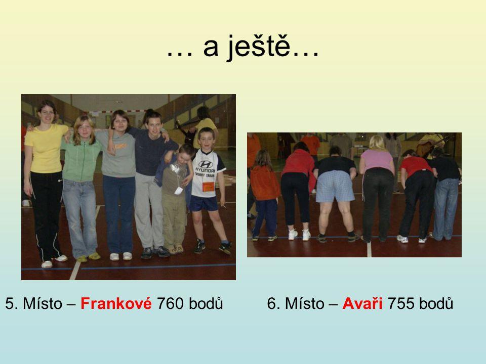… a ještě… 5. Místo – Frankové 760 bodů6. Místo – Avaři 755 bodů