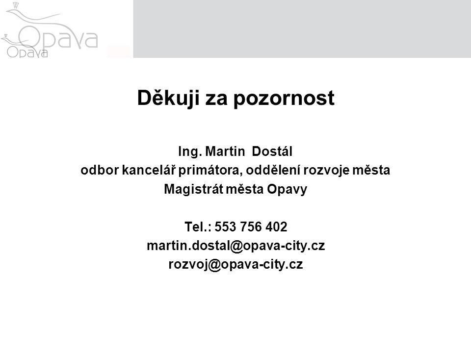 Děkuji za pozornost Ing. Martin Dostál odbor kancelář primátora, oddělení rozvoje města Magistrát města Opavy Tel.: 553 756 402 martin.dostal@opava-ci