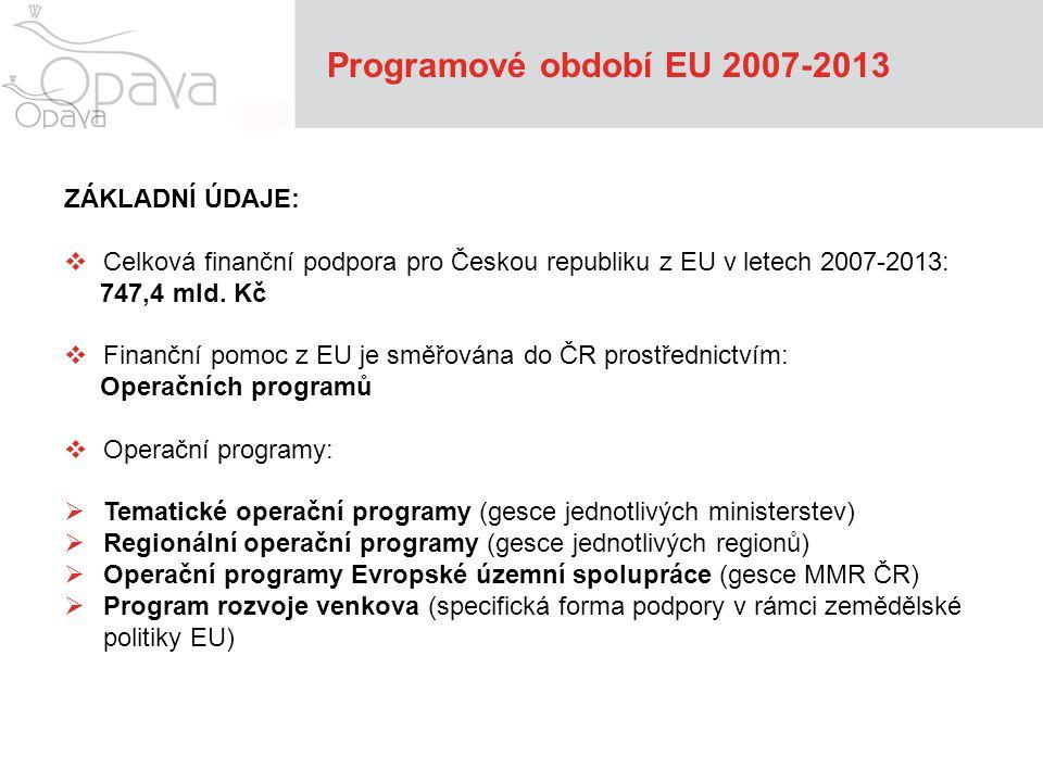 Programové období EU 2007-2013 Tématické operační programy: 1)Podnikání a inovace 2)Doprava 3)Vzdělávání pro konkurenceschopnost 4)Lidské zdroje a zaměstnanost 5)Výzkum a vývoj pro inovace 6)Životní prostředí 7)Integrovaný operační program
