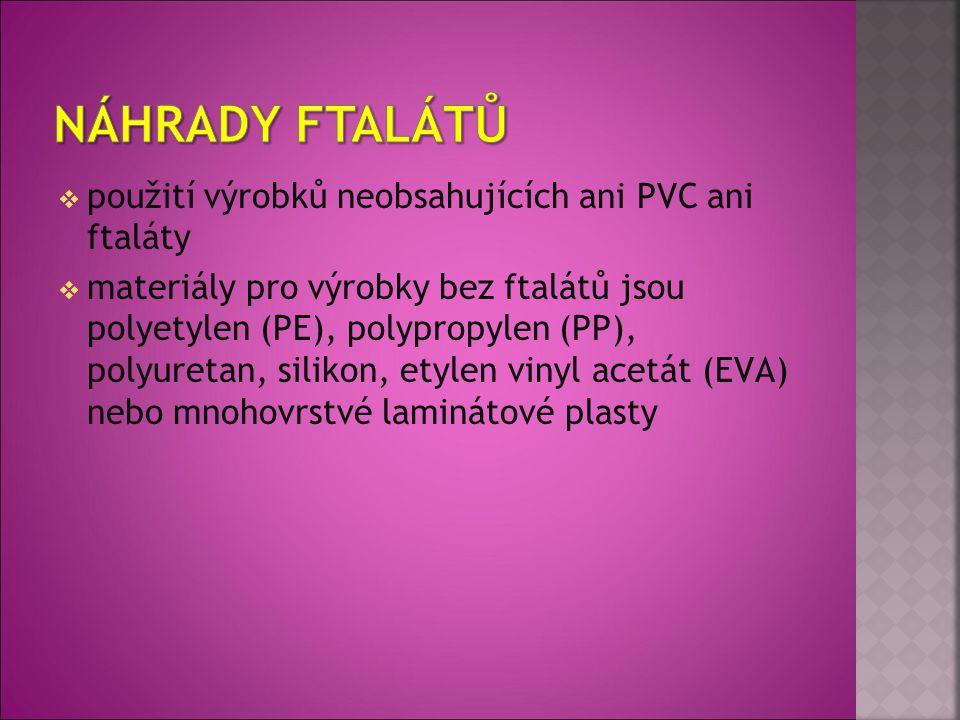  použití výrobků neobsahujících ani PVC ani ftaláty  materiály pro výrobky bez ftalátů jsou polyetylen (PE), polypropylen (PP), polyuretan, silikon,