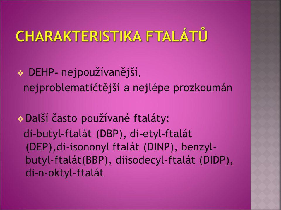  DEHP - n ejpoužívanější, nejproblematičtější a nejlépe prozkoumán  Další často používané ftaláty: di - butyl - ftalát (DBP), di - etyl - ftalát (DE