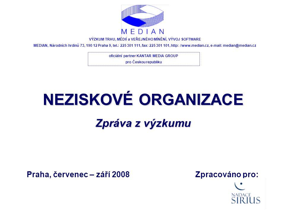 Praha, červenec – září 2008 VÝZKUM TRHU, MÉDIÍ a VEŘEJNÉHO MÍNĚNÍ, VÝVOJ SOFTWARE MEDIAN, Národních hrdinů 73, 190 12 Praha 9, tel.: 225 301 111, fax: