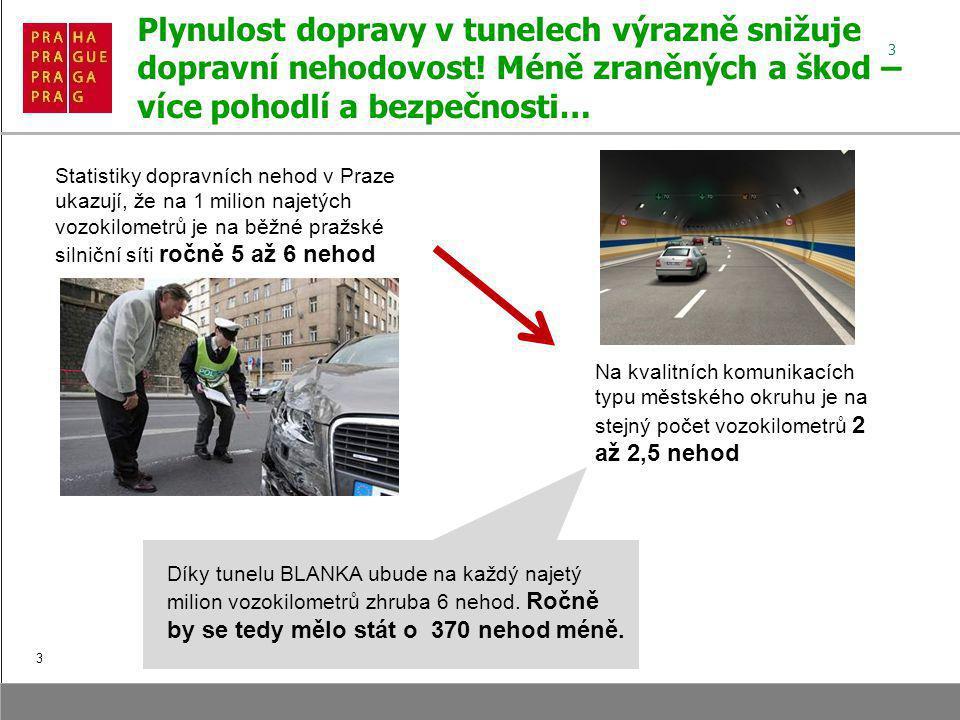 3 Plynulost dopravy v tunelech výrazně snižuje dopravní nehodovost.