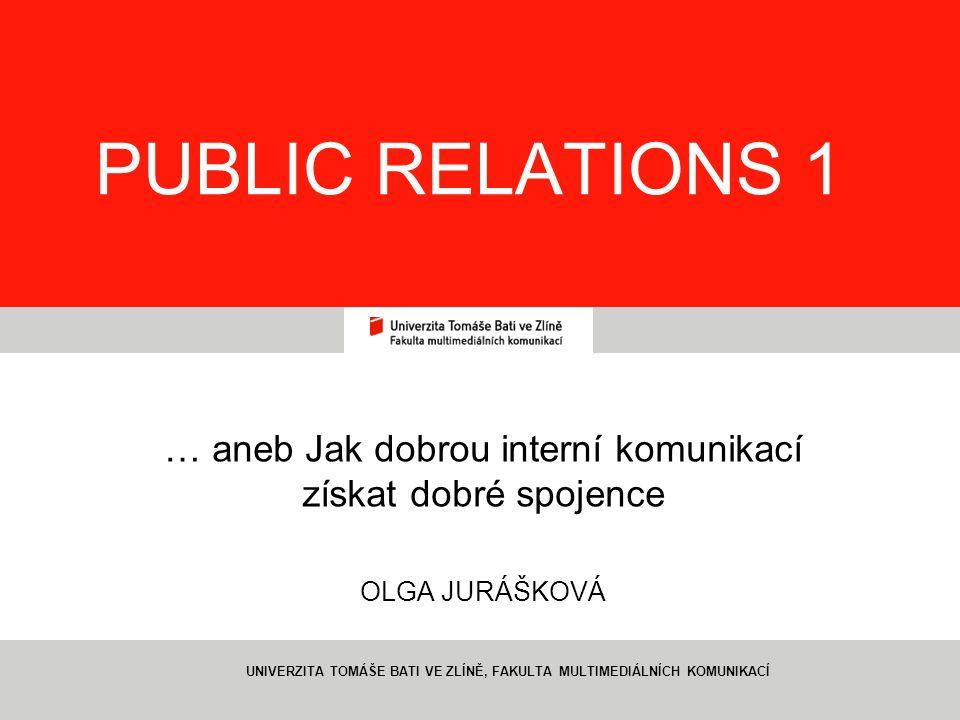1 PUBLIC RELATIONS 1 … aneb Jak dobrou interní komunikací získat dobré spojence OLGA JURÁŠKOVÁ UNIVERZITA TOMÁŠE BATI VE ZLÍNĚ, FAKULTA MULTIMEDIÁLNÍC