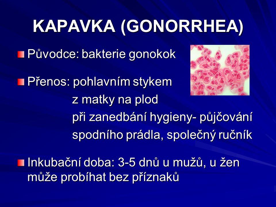 KAPAVKA (GONORRHEA) Původce: bakterie gonokok Přenos: pohlavním stykem z matky na plod z matky na plod při zanedbání hygieny- půjčování při zanedbání