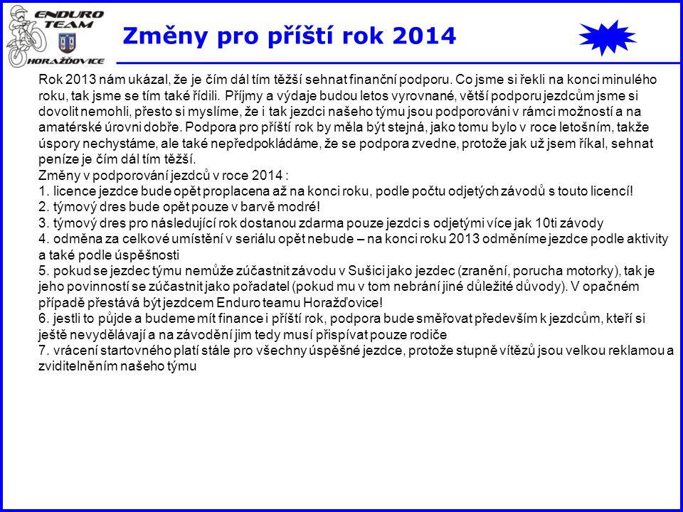 Změny pro příští rok 2014 Rok 2013 nám ukázal, že je čím dál tím těžší sehnat finanční podporu. Co jsme si řekli na konci minulého roku, tak jsme se t