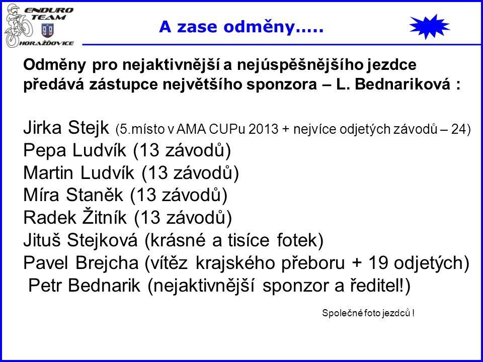 Odměny pro nejaktivnější a nejúspěšnějšího jezdce předává zástupce největšího sponzora – L. Bednariková : Jirka Stejk (5.místo v AMA CUPu 2013 + nejví