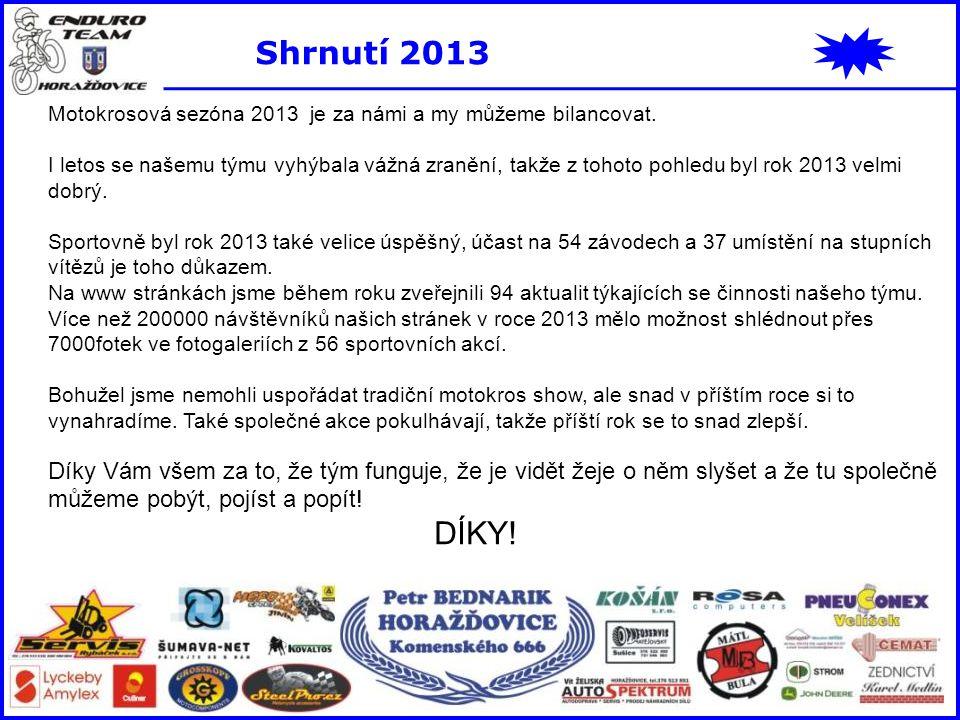 Shrnutí 2013 Motokrosová sezóna 2013 je za námi a my můžeme bilancovat. I letos se našemu týmu vyhýbala vážná zranění, takže z tohoto pohledu byl rok