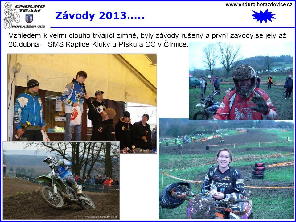 www.enduro.horazdovice.cz Závody 2013….. Vzhledem k velmi dlouho trvající zimně, byly závody rušeny a první závody se jely až 20.dubna – SMS Kaplice K