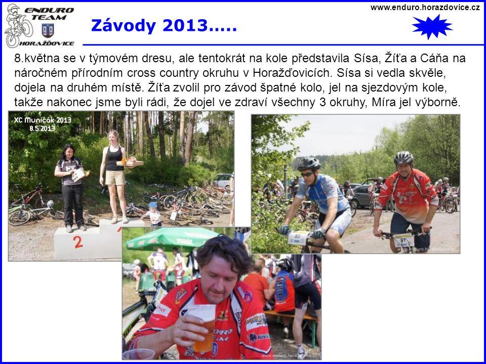 www.enduro.horazdovice.cz Závody 2013….. 8.května se v týmovém dresu, ale tentokrát na kole představila Sísa, Žíťa a Cáňa na náročném přírodním cross
