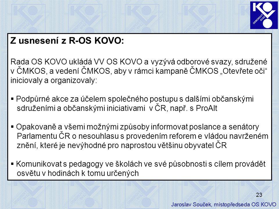 """23 Z usnesení z R-OS KOVO: Rada OS KOVO ukládá VV OS KOVO a vyzývá odborové svazy, sdružené v ČMKOS, a vedení ČMKOS, aby v rámci kampaně ČMKOS """"Otevře"""