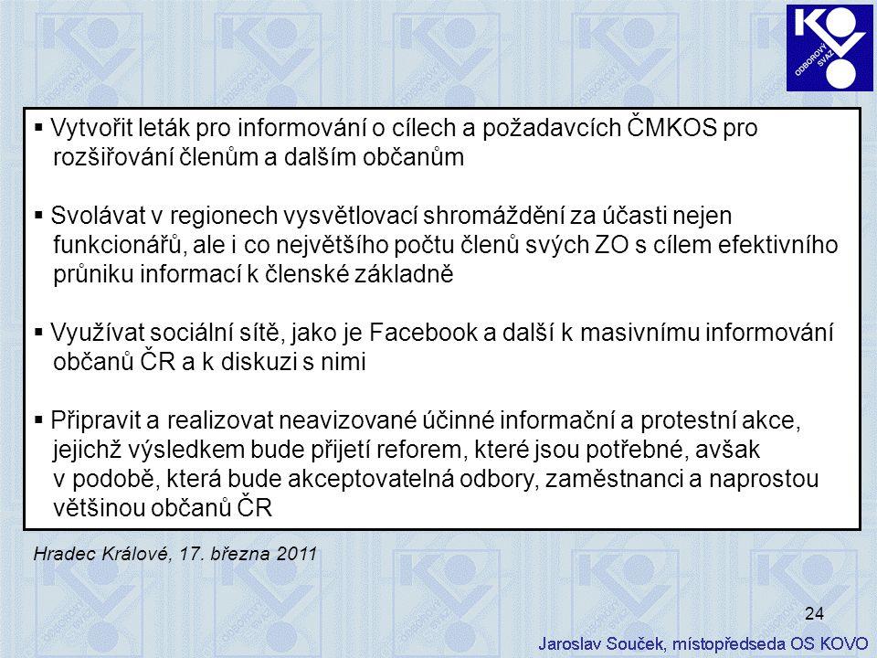 24  Vytvořit leták pro informování o cílech a požadavcích ČMKOS pro rozšiřování členům a dalším občanům  Svolávat v regionech vysvětlovací shromáždě