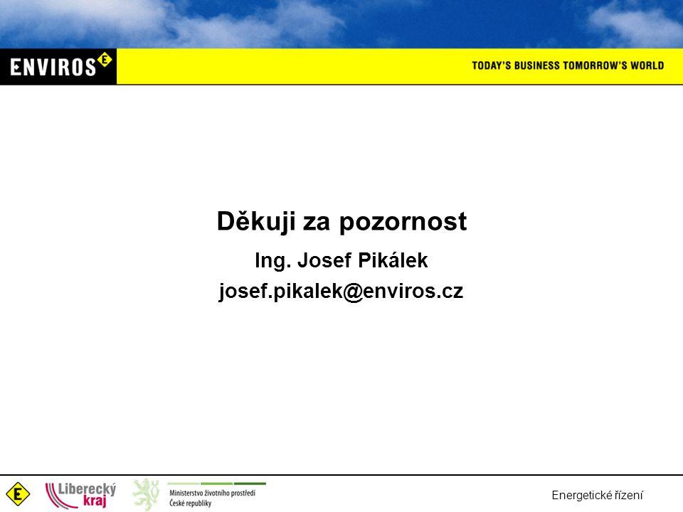 Energetické řízení Děkuji za pozornost Ing. Josef Pikálek josef.pikalek@enviros.cz