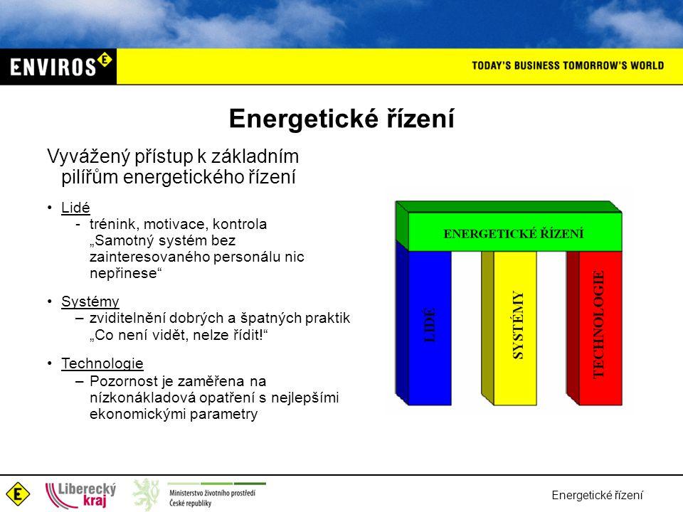 """Energetické řízení Vyvážený přístup k základním pilířům energetického řízení •Lidé -trénink, motivace, kontrola """"Samotný systém bez zainteresovaného personálu nic nepřinese •Systémy –zviditelnění dobrých a špatných praktik """"Co není vidět, nelze řídit! •Technologie –Pozornost je zaměřena na nízkonákladová opatření s nejlepšími ekonomickými parametry"""