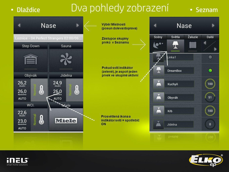 Místnost Audio Zóna Video Zóna Volba modulu TV/Film/Hudba/Foto Pokud je v Místnosti definována Zóna, bude zpřístupněná ikona Multimedia po kliku na ikonu Multimédia je zpřístupněn detail Multimédií